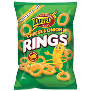 Taffel Cheese Onion Rings maustettu juustosnacks 160g