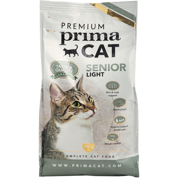 Premium PrimaCat Senior Light kissan kuivaruoka 750g