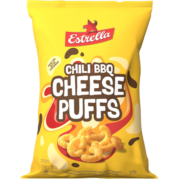 Estrella Cheese Puffs Chili BBQ juustosuikero 225g