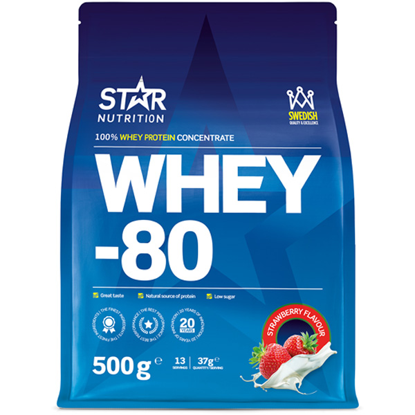 Star Nutrition Whey-80 Strawberry heraproteiinikonsentraatti 500g
